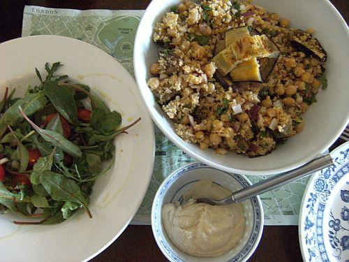 green salad and aubergine salad