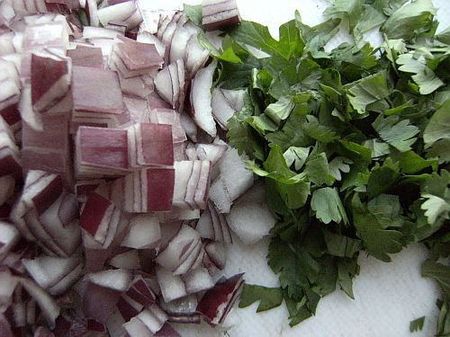 red onion and coriander