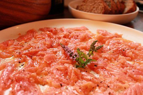 wild salmon carpaccio with brown bread
